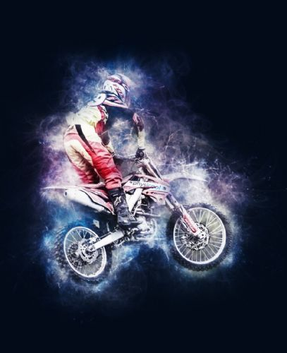 Motocross Extreme Sports  Canvas Framed Wall Art - 38